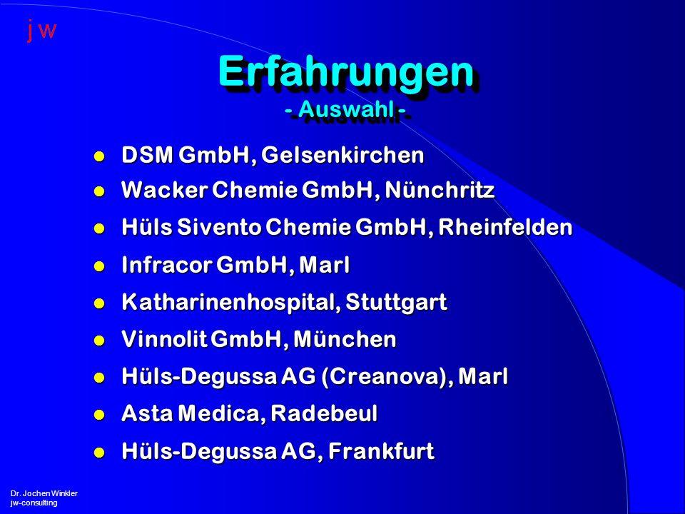 l DSM GmbH, Gelsenkirchen l Wacker Chemie GmbH, Nünchritz l Hüls Sivento Chemie GmbH, Rheinfelden l Infracor GmbH, Marl l Katharinenhospital, Stuttgar