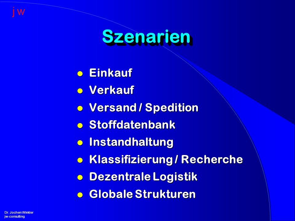 SzenarienSzenarien l Einkauf l Verkauf l Versand / Spedition l Stoffdatenbank l Instandhaltung l Klassifizierung / Recherche l Dezentrale Logistik l G