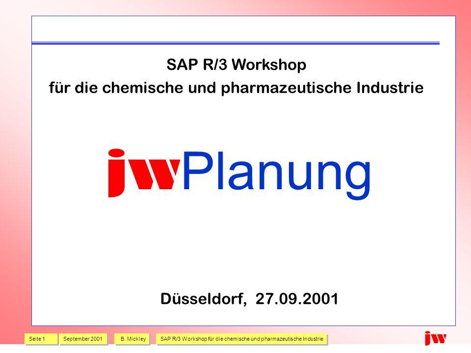Seite 1 September 2001 B. Mickley SAP R/3 Workshop für die chemische und pharmazeutische Industrie jw jw Planung SAP R/3 Workshop für die chemische un