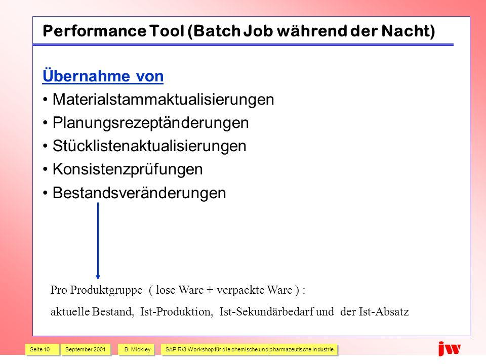 Seite 10 September 2001 B. Mickley SAP R/3 Workshop für die chemische und pharmazeutische Industrie jw Performance Tool (Batch Job während der Nacht)