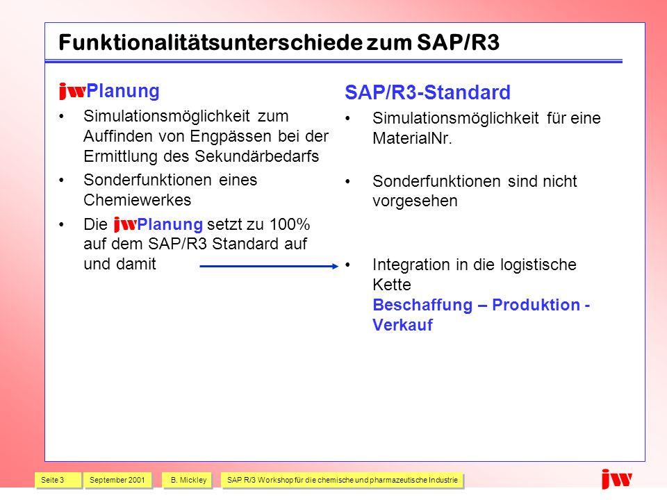 Seite 3 September 2001 B. Mickley SAP R/3 Workshop für die chemische und pharmazeutische Industrie jw Funktionalitätsunterschiede zum SAP/R3 jw Planun