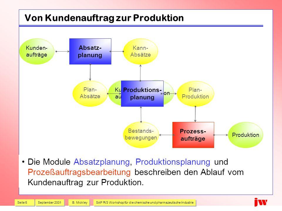 Seite 5 September 2001 B. Mickley SAP R/3 Workshop für die chemische und pharmazeutische Industrie jw Kunden- aufträge Produktion Von Kundenauftrag zu