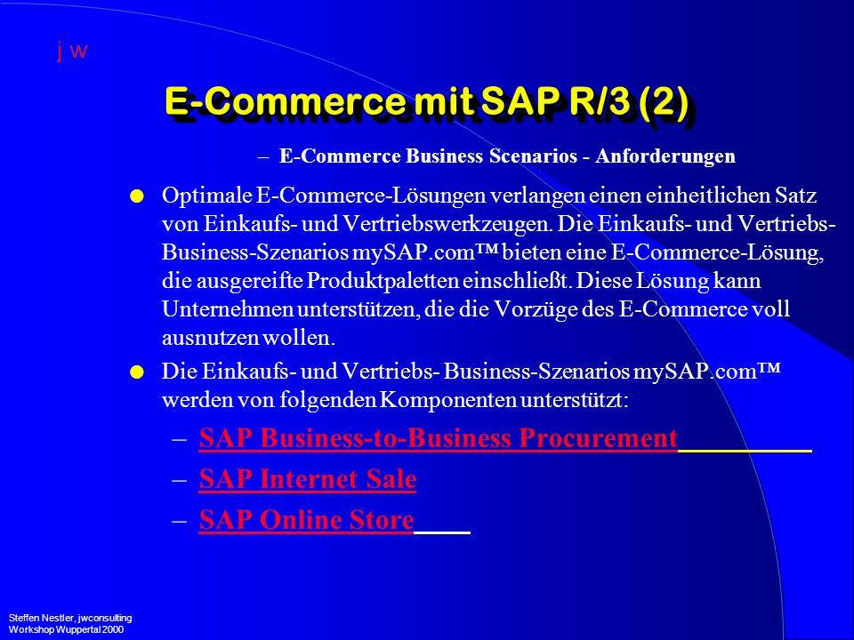 Der Bestelldatenaustausch in der Praxis (2) –Katharinenhospital Steffen Nestler, jwconsulting Workshop Wuppertal 2000 EinkaufIDocBestellung SAP R/3 4.0B SAP Business Connector Rule AventisPackage AventisXML Aventis Internet