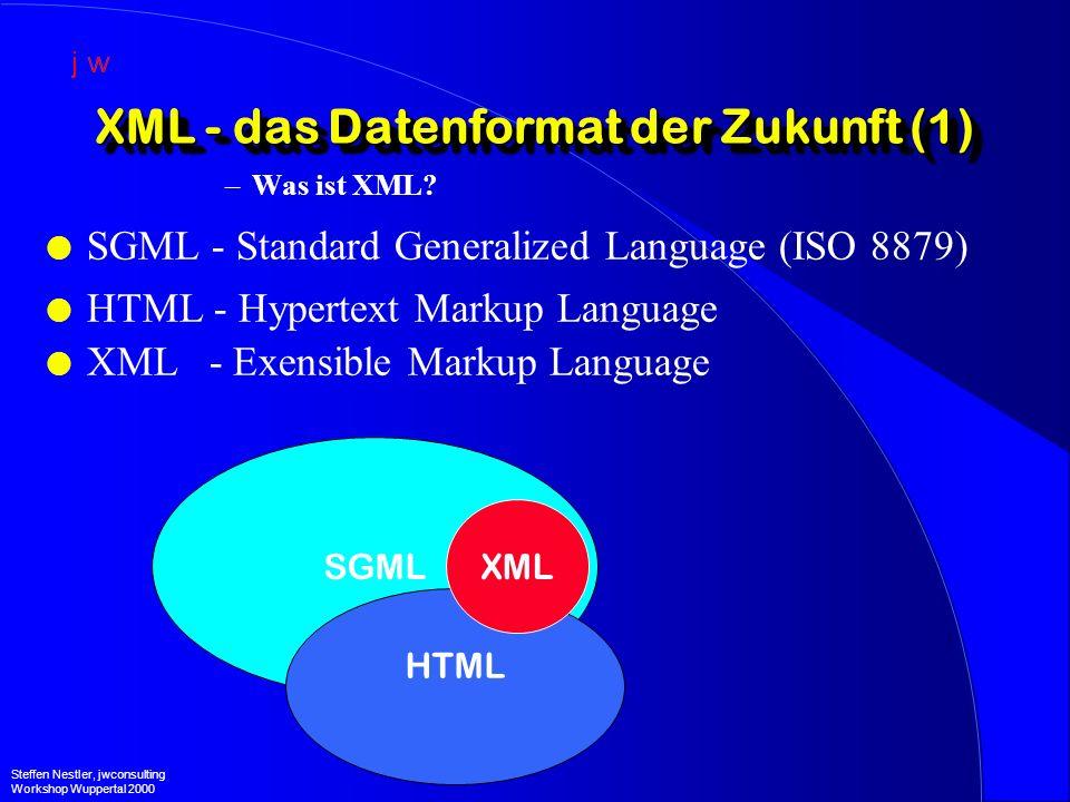 XML - das Datenformat der Zukunft (2) –Anwendungen von XML 1.0 Steffen Nestler, jwconsulting Workshop Wuppertal 2000 l XML - Extensible Markup Language l MathML - Mathematical Markup Language l RDF - Ressource Description Framework l XLink - Linking Language l SMIL - Synchronized Mulitmedia Language l XSL - Extensible Stylesheet Language