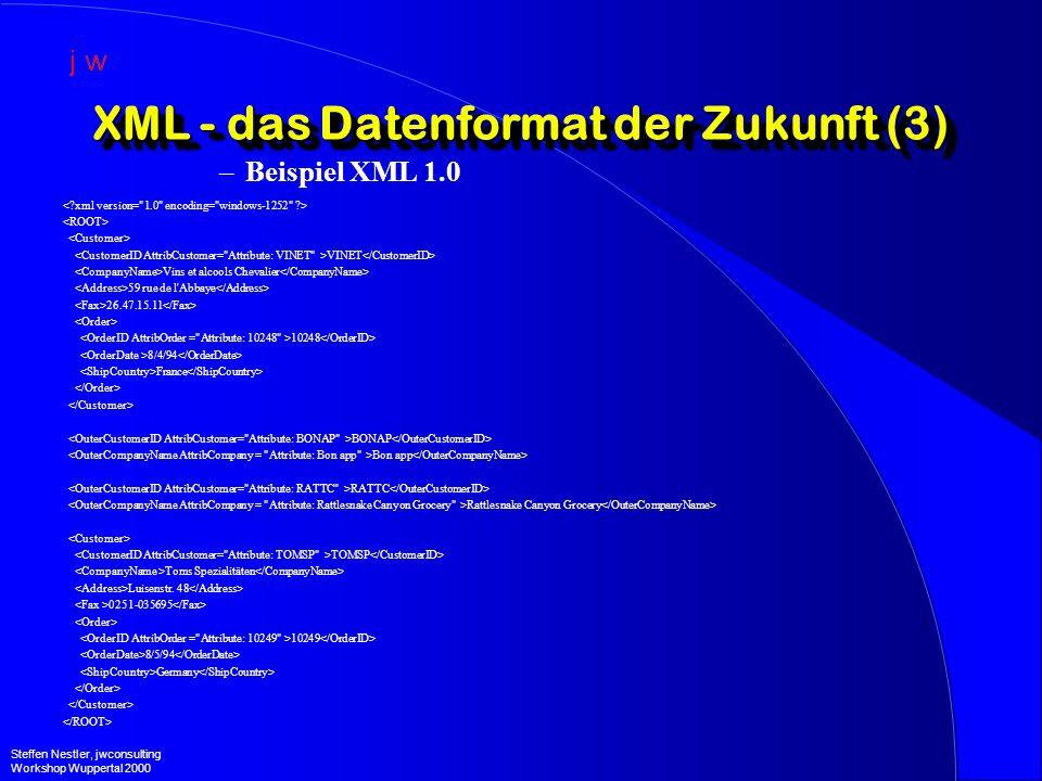 XML - das Datenformat der Zukunft (3) –Beispiel XML 1.0 VINET Vins et alcools Chevalier 59 rue de l Abbaye 26.47.15.11 10248 8/4/94 France BONAP Bon app RATTC Rattlesnake Canyon Grocery TOMSP Toms Spezialitäten Luisenstr.