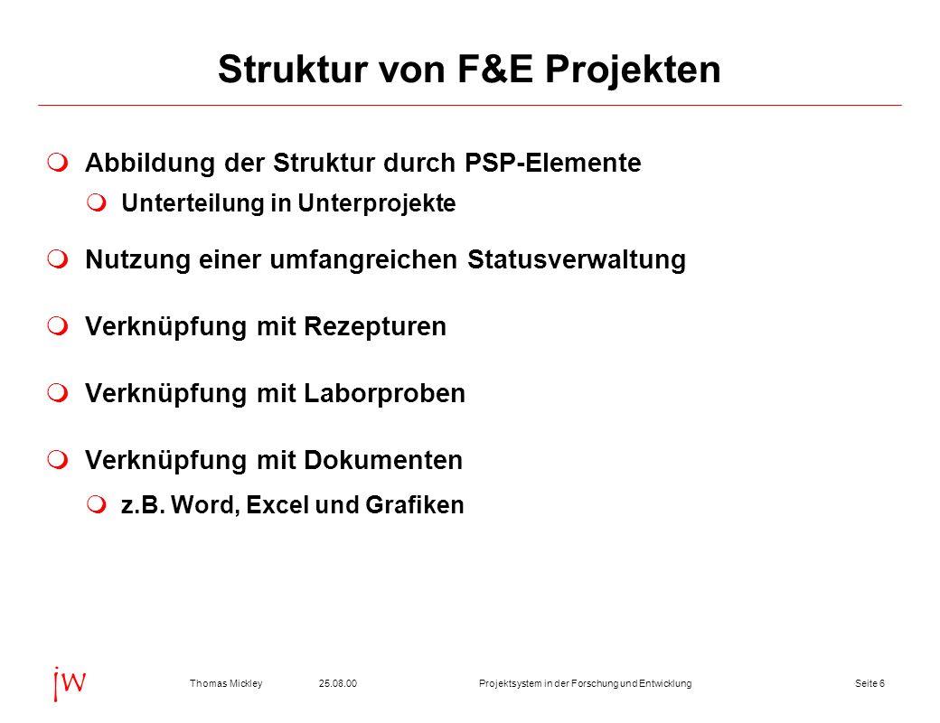 Seite 725.08.00Thomas MickleyProjektsystem in der Forschung und Entwicklung jw Projektschema