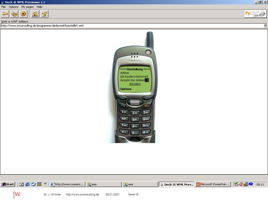 Seite 1525.01.2001Dr. J. Winkler http://www.jwconsulting.de jw B2C Kundenaufträge über WAP-Handy