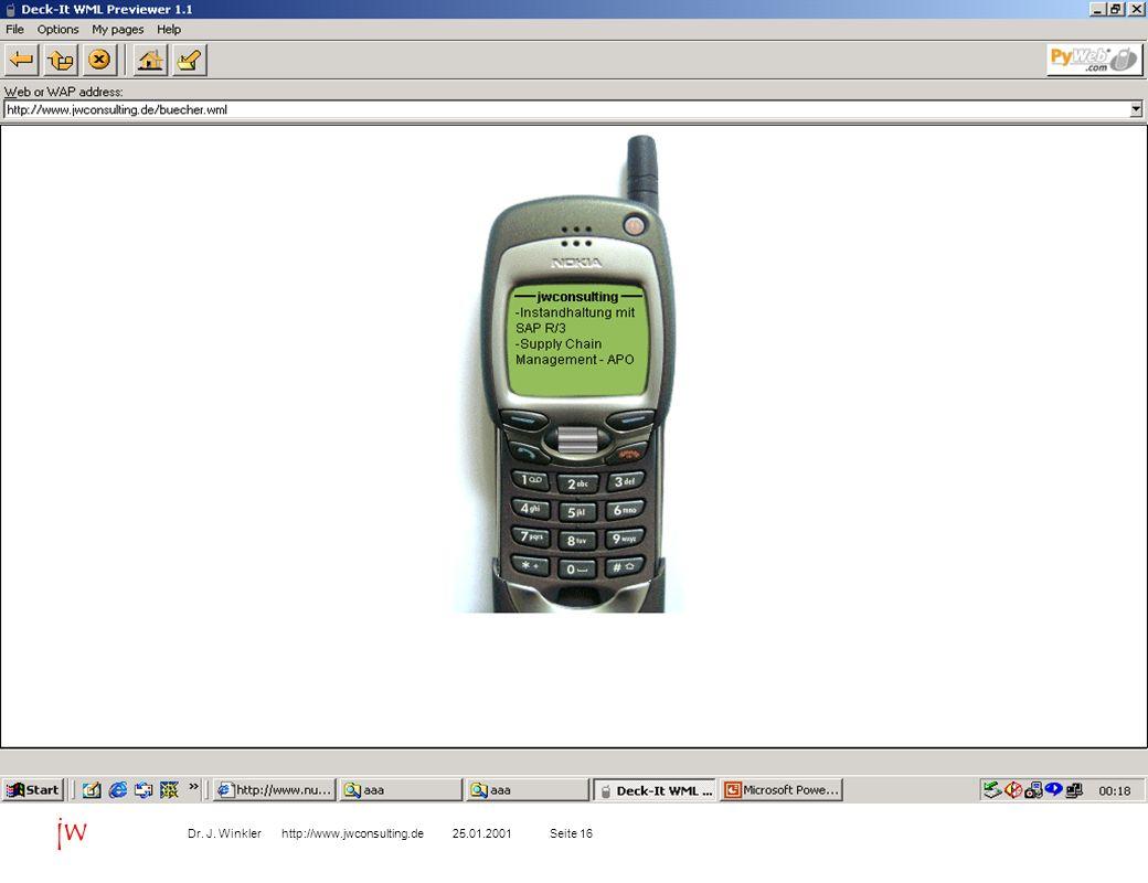 Seite 1625.01.2001Dr. J. Winkler http://www.jwconsulting.de jw B2C Kundenaufträge über WAP-Handy