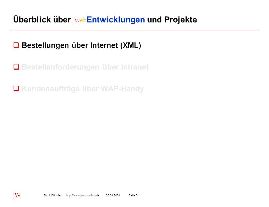 Seite 525.01.2001Dr. J. Winkler http://www.jwconsulting.de jw Überblick über jweb Entwicklungen und Projekte Bestellungen über Internet (XML) Bestella