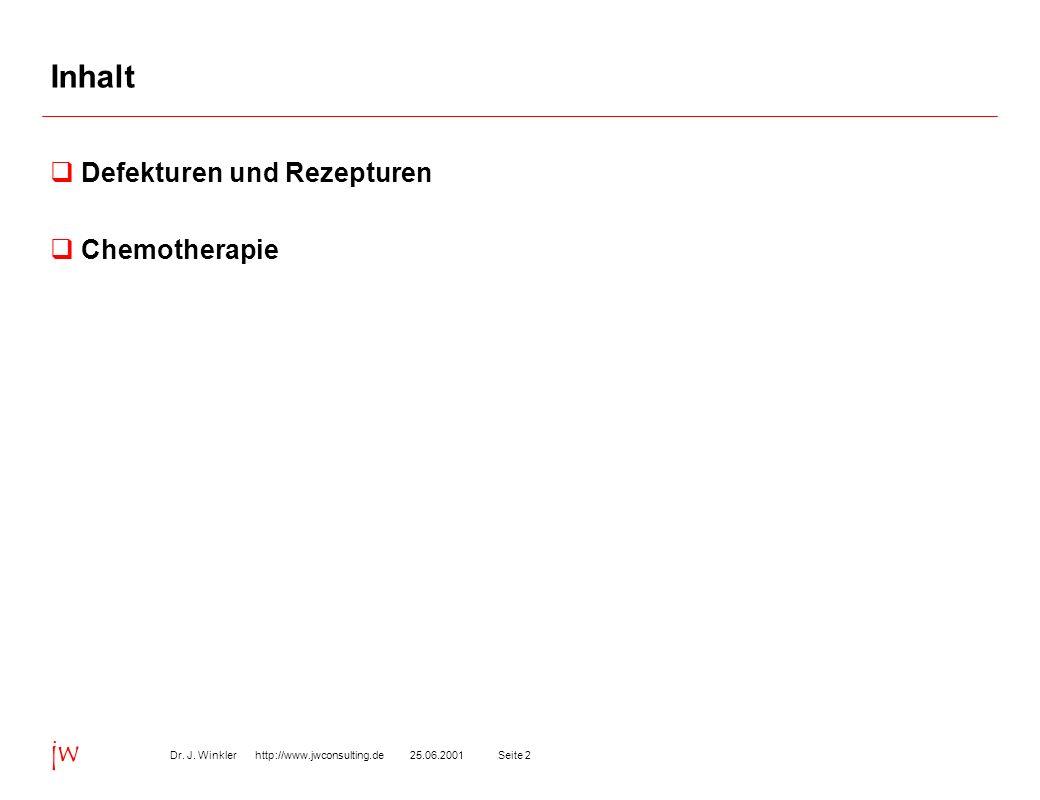 Seite 225.06.2001Dr. J. Winkler http://www.jwconsulting.de jw Inhalt Defekturen und Rezepturen Chemotherapie