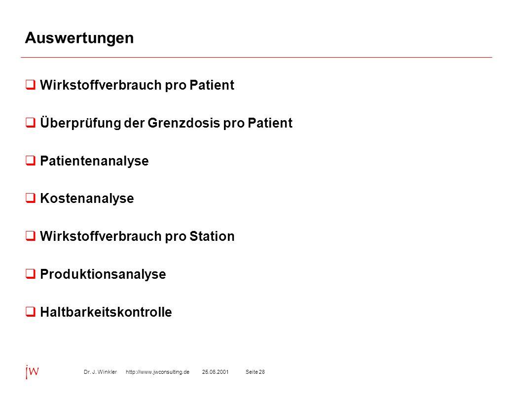 Seite 2825.06.2001Dr. J. Winkler http://www.jwconsulting.de jw Auswertungen Wirkstoffverbrauch pro Patient Überprüfung der Grenzdosis pro Patient Pati