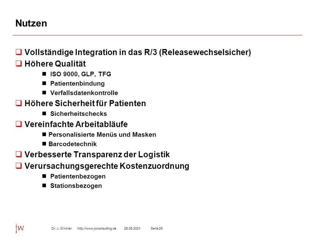 Seite 2925.06.2001Dr. J. Winkler http://www.jwconsulting.de jw Nutzen Vollständige Integration in das R/3 (Releasewechselsicher) Höhere Qualität ISO 9