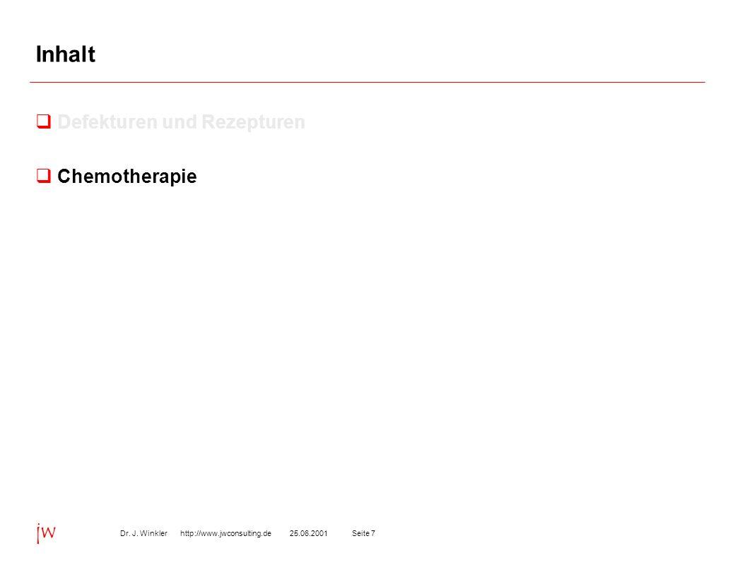 Seite 725.06.2001Dr. J. Winkler http://www.jwconsulting.de jw Inhalt Defekturen und Rezepturen Chemotherapie