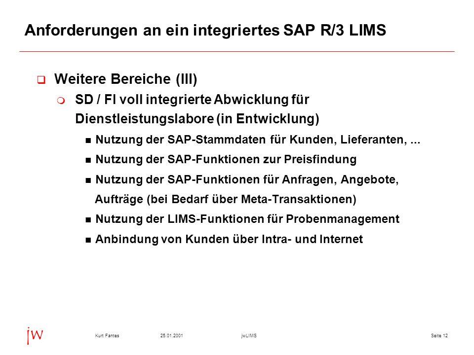 Seite 1225.01.2001Kurt FantesjwLIMS jw Anforderungen an ein integriertes SAP R/3 LIMS Weitere Bereiche (III) SD / FI voll integrierte Abwicklung für D