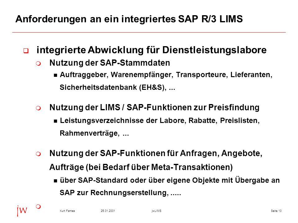 Seite 1325.01.2001Kurt FantesjwLIMS jw Anforderungen an ein integriertes SAP R/3 LIMS integrierte Abwicklung für Dienstleistungslabore Nutzung der SAP