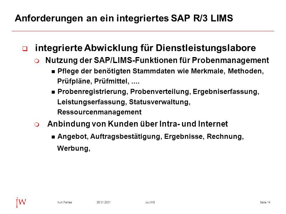 Seite 1425.01.2001Kurt FantesjwLIMS jw Anforderungen an ein integriertes SAP R/3 LIMS integrierte Abwicklung für Dienstleistungslabore Nutzung der SAP