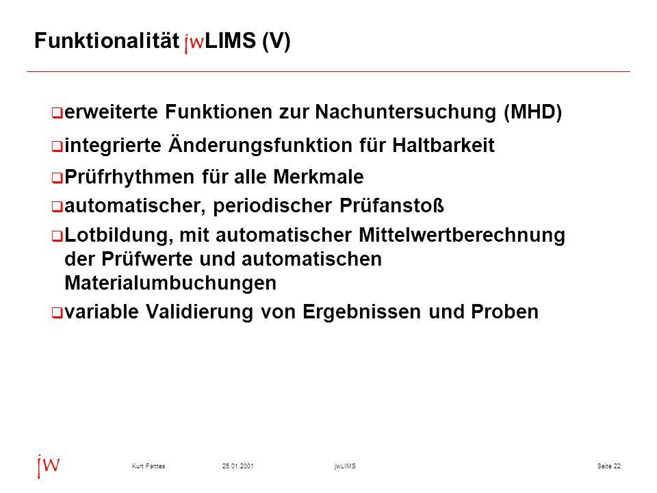 Seite 2225.01.2001Kurt FantesjwLIMS jw Funktionalität jwLIMS (V) erweiterte Funktionen zur Nachuntersuchung (MHD) integrierte Änderungsfunktion für Ha