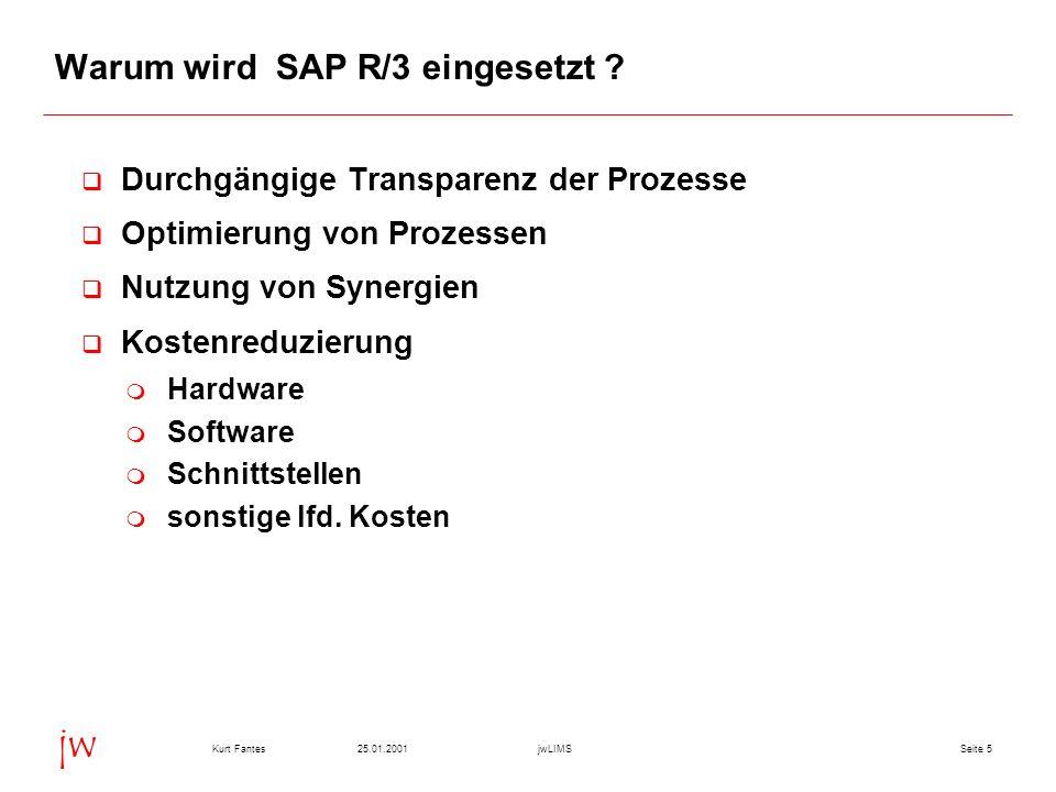 Seite 525.01.2001Kurt FantesjwLIMS jw Warum wird SAP R/3 eingesetzt ? q Durchgängige Transparenz der Prozesse q Optimierung von Prozessen q Nutzung vo