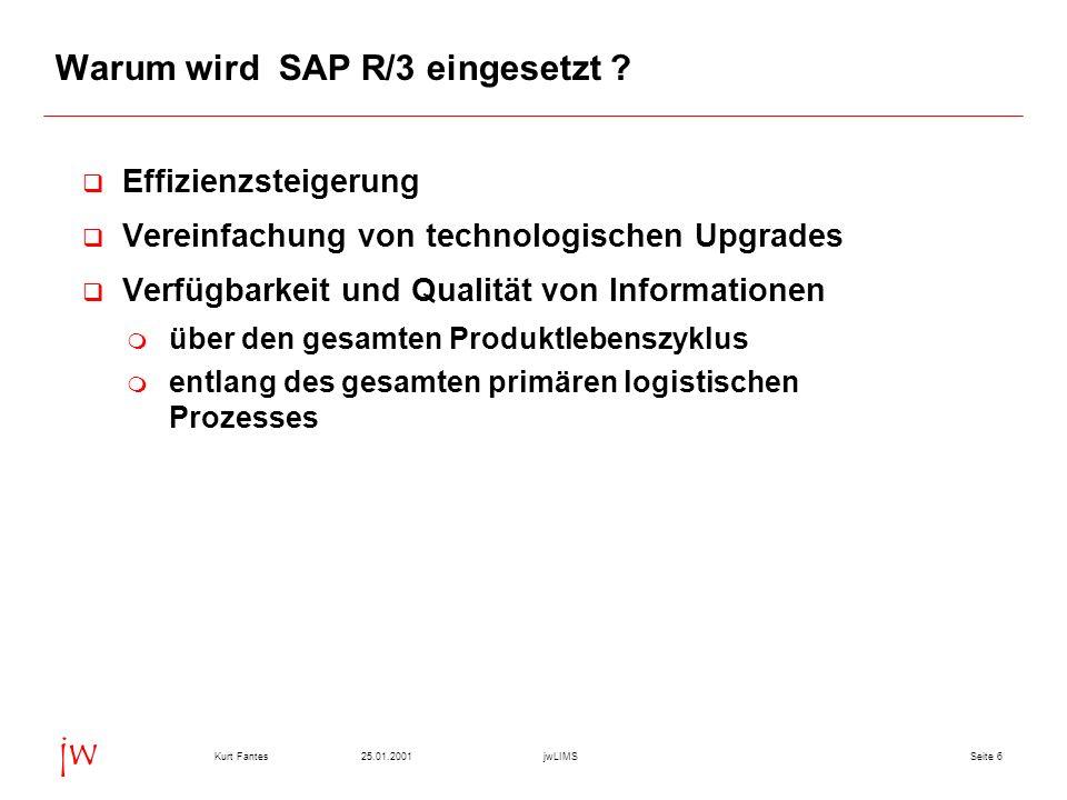 Seite 625.01.2001Kurt FantesjwLIMS jw Warum wird SAP R/3 eingesetzt ? Effizienzsteigerung Vereinfachung von technologischen Upgrades Verfügbarkeit und