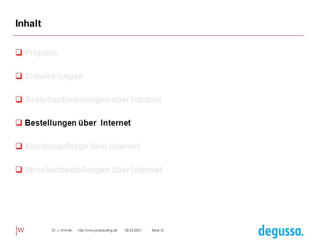 Seite 1208.03.2001Dr. J. Winkler http://www.jwconsulting.de jw Inhalt Projekte Entwicklungen Bestellanforderungen über Intranet Bestellungen über Inte