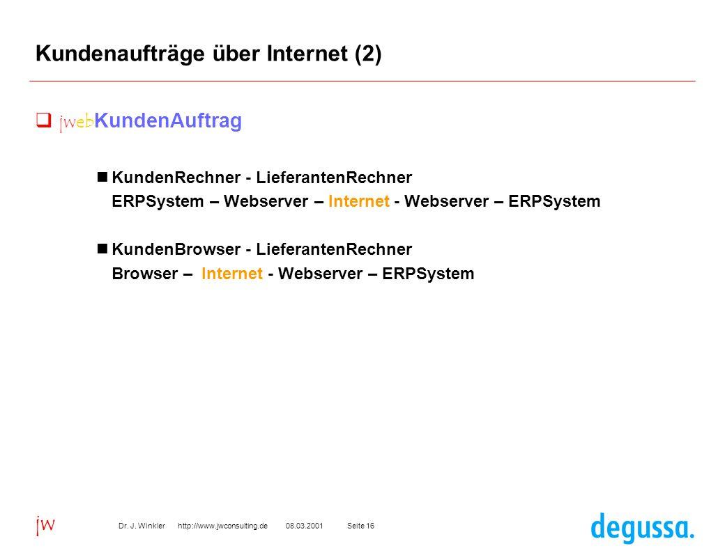 Seite 1608.03.2001Dr. J. Winkler http://www.jwconsulting.de jw Kundenaufträge über Internet (2) jweb KundenAuftrag KundenRechner - LieferantenRechner