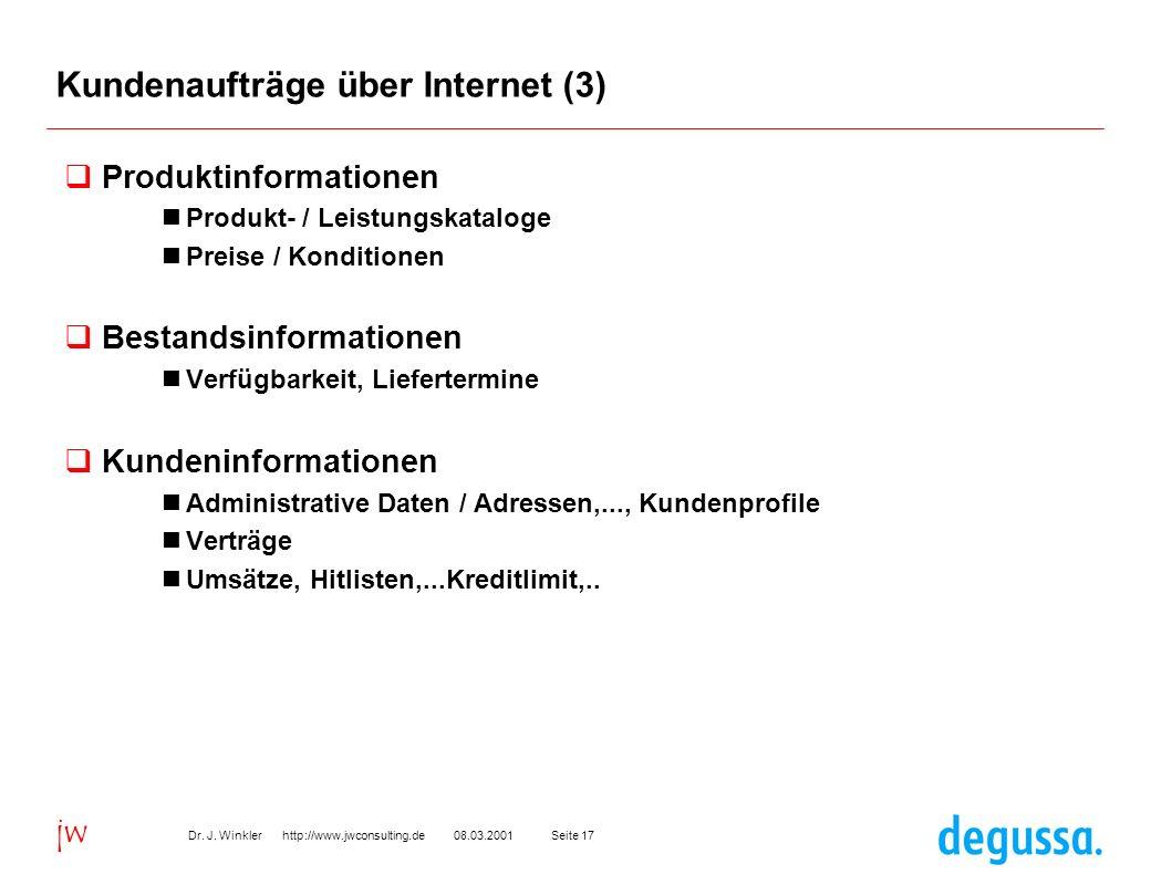 Seite 1708.03.2001Dr. J. Winkler http://www.jwconsulting.de jw Kundenaufträge über Internet (3) Produktinformationen Produkt- / Leistungskataloge Prei