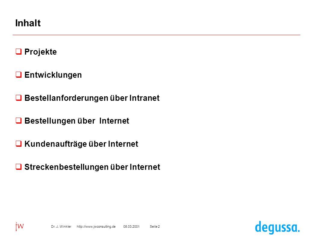 Seite 208.03.2001Dr. J. Winkler http://www.jwconsulting.de jw Inhalt Projekte Entwicklungen Bestellanforderungen über Intranet Bestellungen über Inter