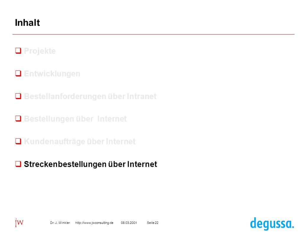 Seite 2208.03.2001Dr. J. Winkler http://www.jwconsulting.de jw Inhalt Projekte Entwicklungen Bestellanforderungen über Intranet Bestellungen über Inte