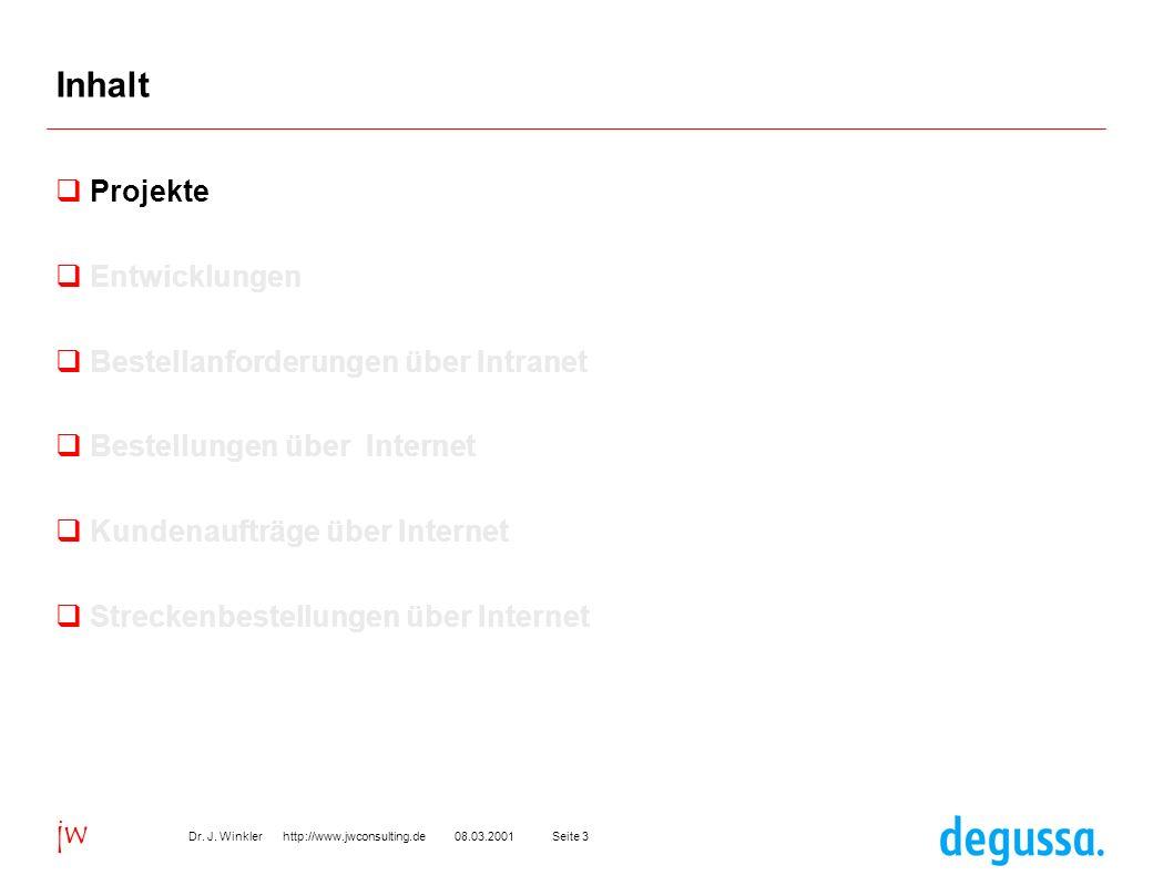 Seite 308.03.2001Dr. J. Winkler http://www.jwconsulting.de jw Inhalt Projekte Entwicklungen Bestellanforderungen über Intranet Bestellungen über Inter