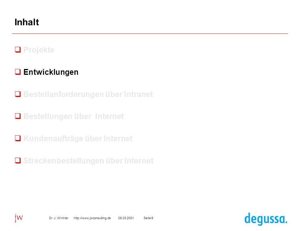 Seite 608.03.2001Dr. J. Winkler http://www.jwconsulting.de jw Inhalt Projekte Entwicklungen Bestellanforderungen über Intranet Bestellungen über Inter