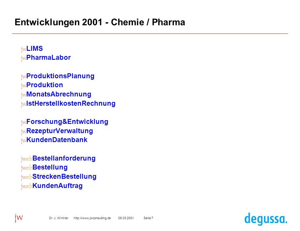 Seite 708.03.2001Dr. J. Winkler http://www.jwconsulting.de jw Entwicklungen 2001 - Chemie / Pharma jw LIMS jw PharmaLabor jw ProduktionsPlanung jw Pro