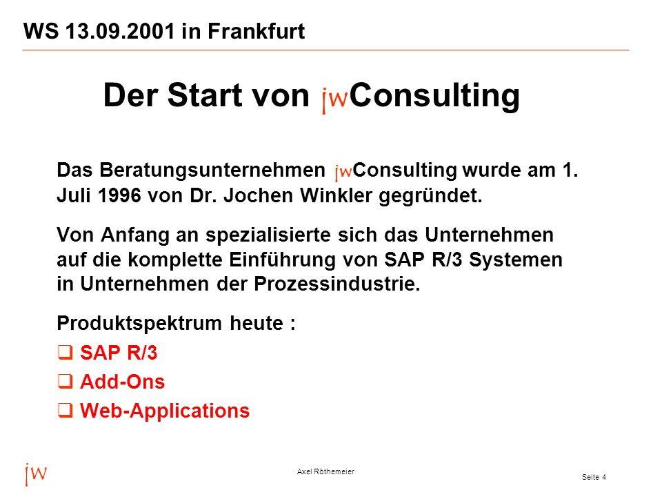 jw Axel Röthemeier Seite 4 WS 13.09.2001 in Frankfurt Das Beratungsunternehmen jw Consulting wurde am 1. Juli 1996 von Dr. Jochen Winkler gegründet. V