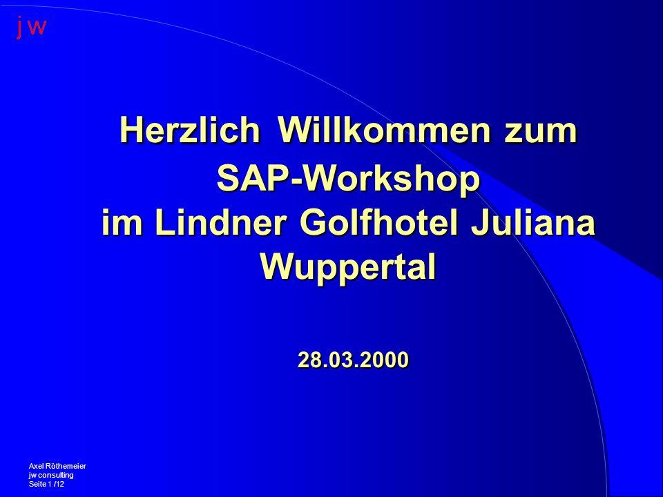 Herzlich Willkommen zum SAP-Workshop im Lindner Golfhotel Juliana Wuppertal 28.03.2000 Axel Röthemeier jw consulting Seite 1 /12