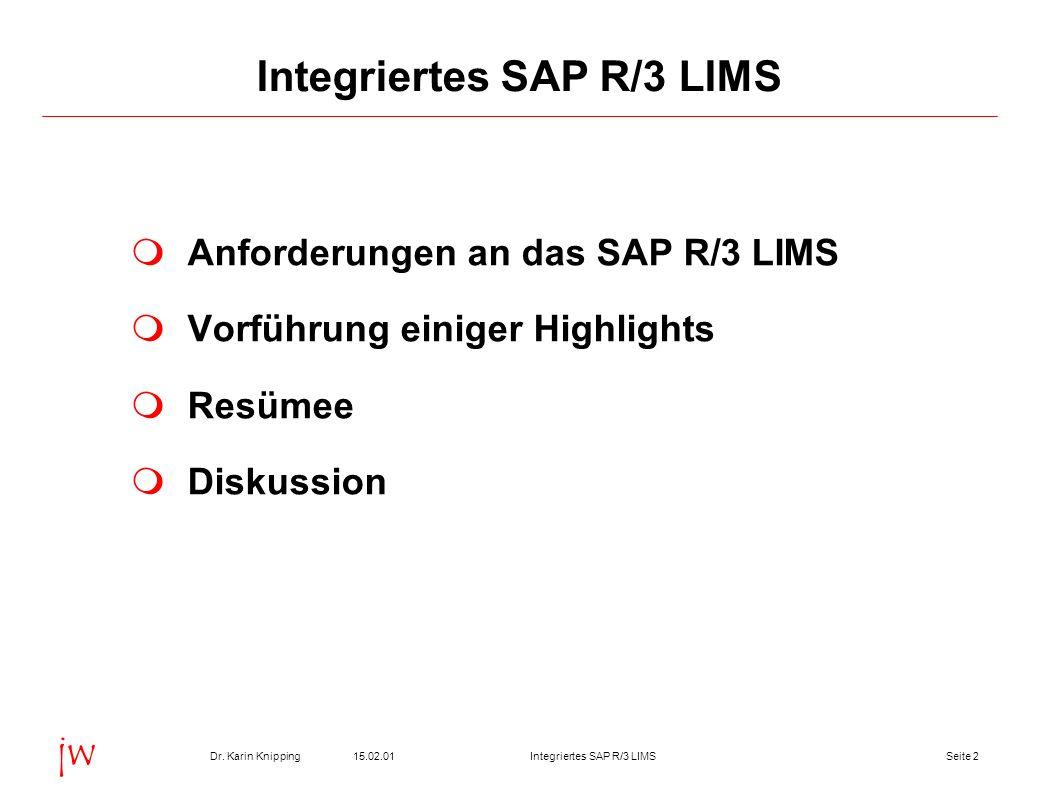 Seite 215.02.01Dr. Karin KnippingIntegriertes SAP R/3 LIMS jw Anforderungen an das SAP R/3 LIMS Vorführung einiger Highlights Resümee Diskussion Integ