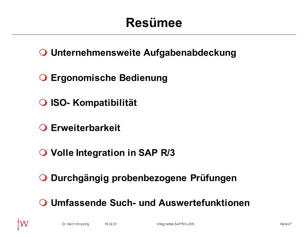Seite 2715.02.01Dr. Karin KnippingIntegriertes SAP R/3 LIMS jw Resümee Unternehmensweite Aufgabenabdeckung Ergonomische Bedienung ISO- Kompatibilität