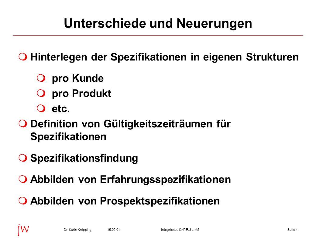 Seite 415.02.01Dr. Karin KnippingIntegriertes SAP R/3 LIMS jw Unterschiede und Neuerungen Hinterlegen der Spezifikationen in eigenen Strukturen pro Ku