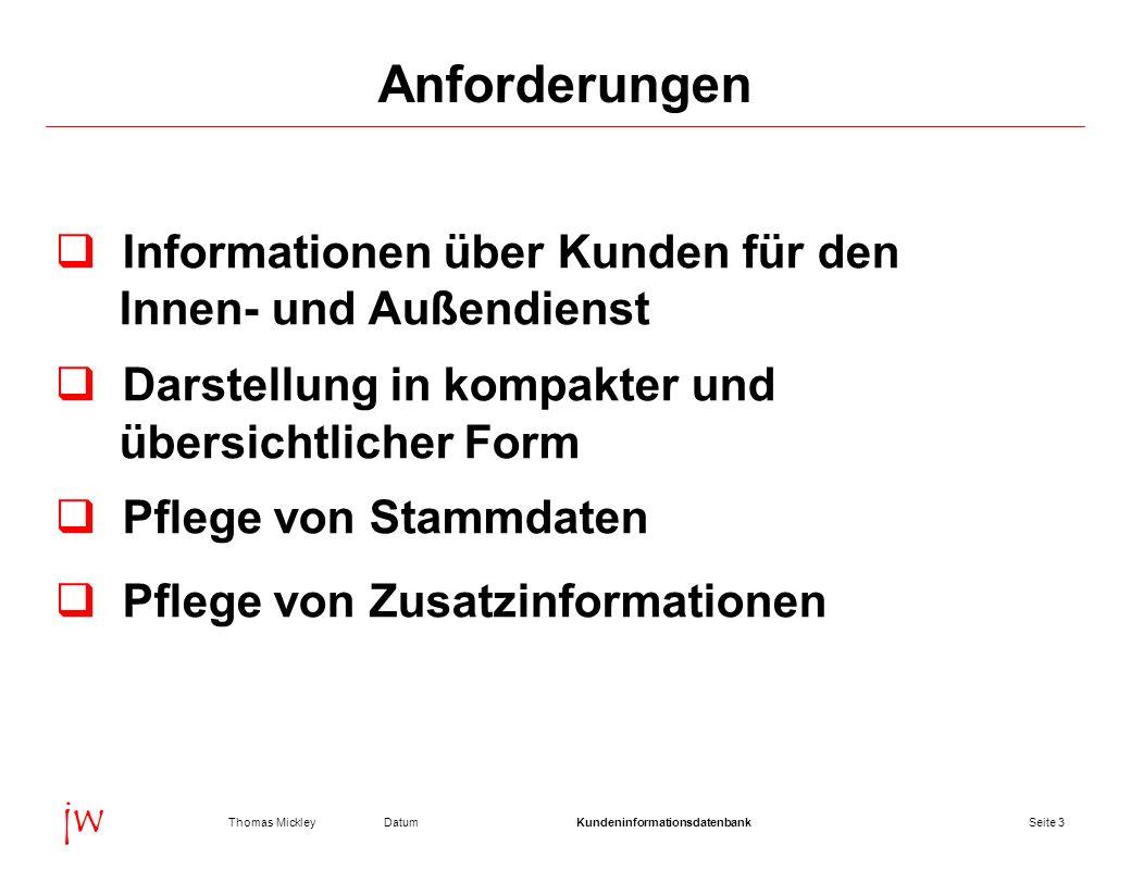Seite 4DatumThomas MickleyKundeninformationsdatenbank jw Anforderungen Erfassung von Interessenten Umwandlung von Interessenten zu Kunden