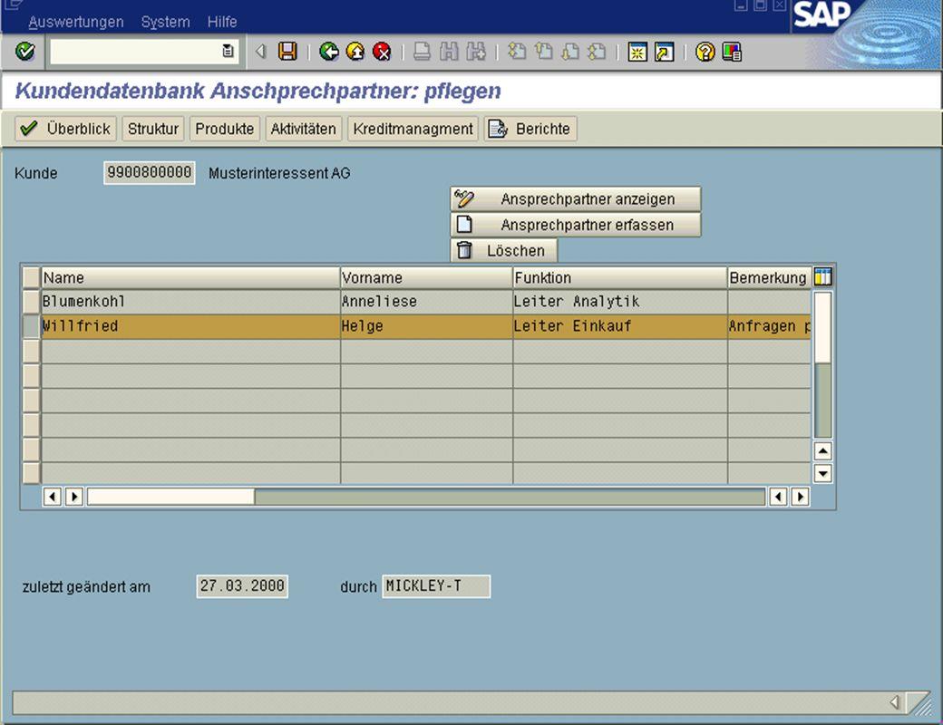 Seite 10DatumThomas MickleyKundeninformationsdatenbank jw Ansprechpartner ändern Adresse