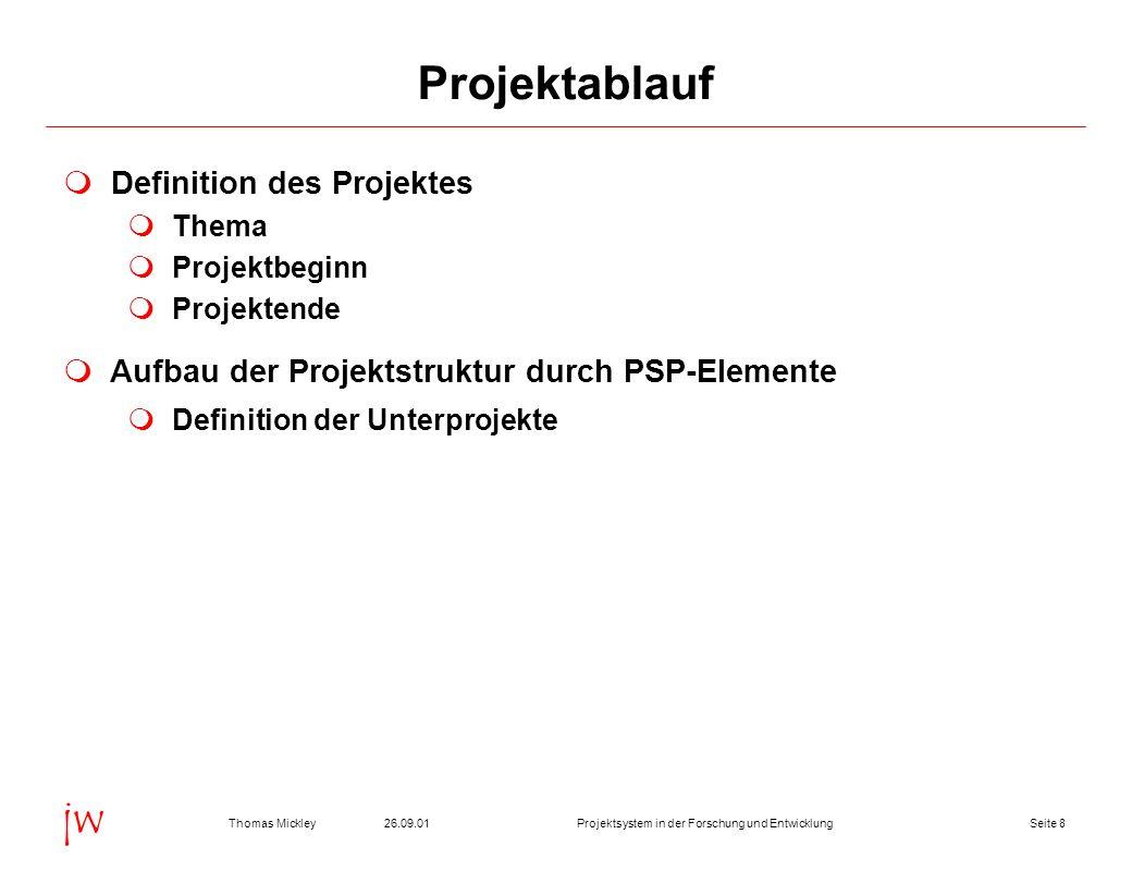 Seite 826.09.01Thomas MickleyProjektsystem in der Forschung und Entwicklung jw Projektablauf Definition des Projektes Thema Projektbeginn Projektende Aufbau der Projektstruktur durch PSP-Elemente Definition der Unterprojekte