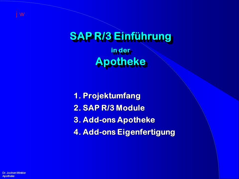 Projektumfang Projektumfang l Abbildung der apothekenspezifischen Bedürfnisse in SAP R/3 Bedürfnisse in SAP R/3 –Integration der Apothekenfunktionalität –Ergänzung für Defekturen / Rezepturen –Ergänzung für Zytostatikaabwicklung –Anschluß Kommissionier-Roboter –Reporting l Anwenderorientierte Menü- und Oberflächengestaltung Oberflächengestaltung l Releasefähigkeit / keine Modifikationen .
