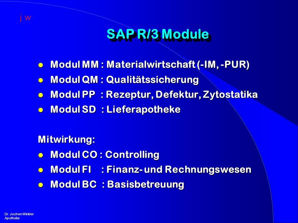 SAP R/3 Module Dr. Jochen Winkler Apotheke l Modul MM : Materialwirtschaft (-IM, -PUR) l Modul QM : Qualitätssicherung l Modul PP : Rezeptur, Defektur