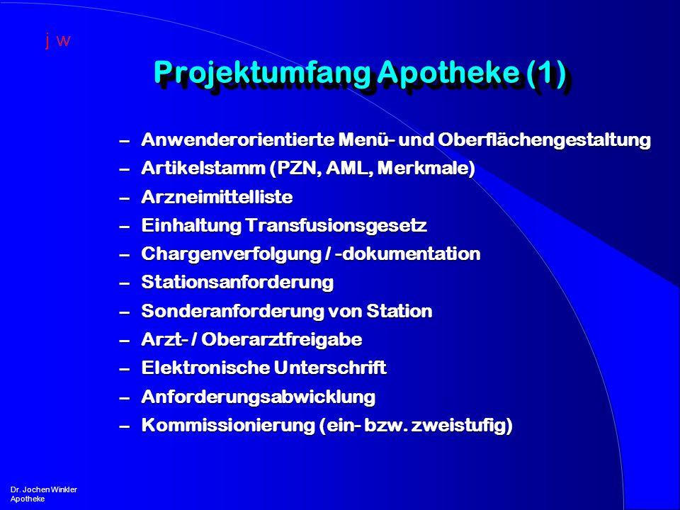 Projektumfang Apotheke (1) Dr. Jochen Winkler Apotheke –Anwenderorientierte Menü- und Oberflächengestaltung –Artikelstamm (PZN, AML, Merkmale) –Arznei