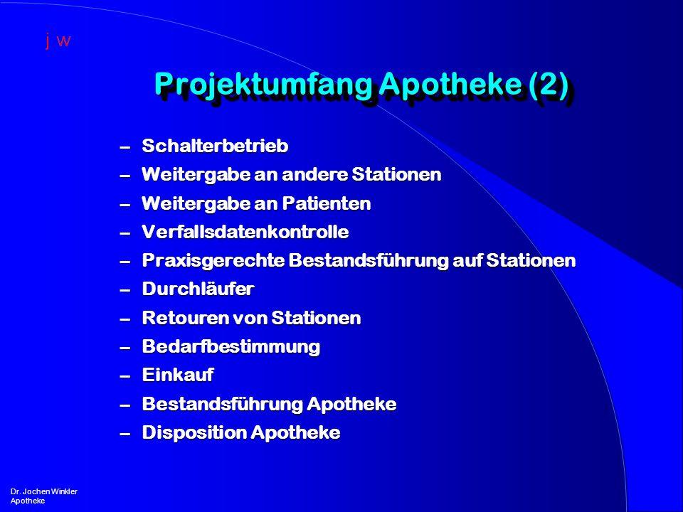 Projektumfang Apotheke (2) Dr. Jochen Winkler Apotheke –Schalterbetrieb –Weitergabe an andere Stationen –Weitergabe an Patienten –Verfallsdatenkontrol
