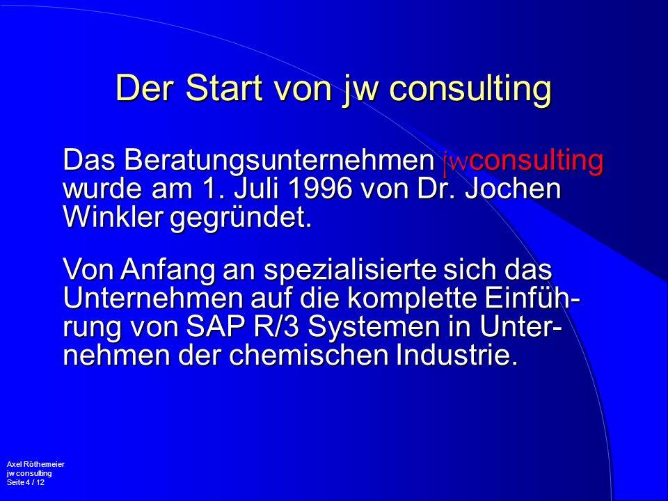 Der Start von jw consulting Das Beratungsunternehmen jwconsulting wurde am 1. Juli 1996 von Dr. Jochen Winkler gegründet. Axel Röthemeier jw consultin