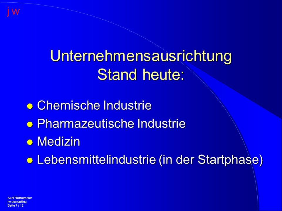 Unternehmensausrichtung Stand heute: l Chemische Industrie l Pharmazeutische Industrie l Medizin l Lebensmittelindustrie (in der Startphase) Axel Röthemeier jw consulting Seite 7 / 12
