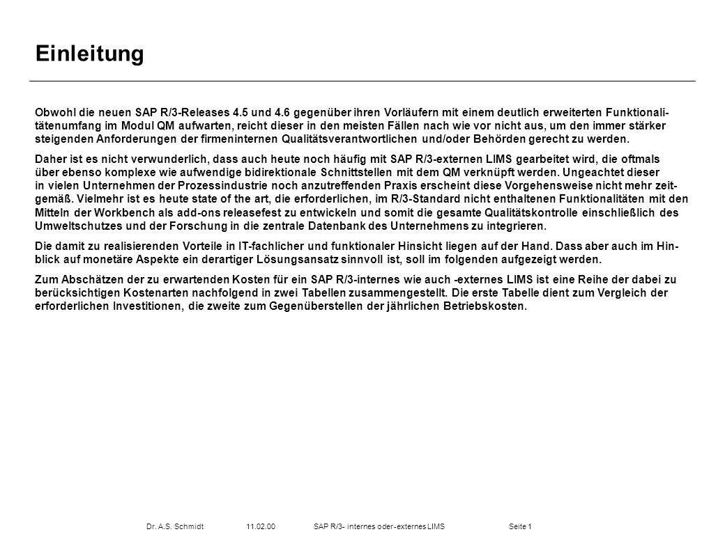 Seite 111.02.00Dr. A.S. SchmidtSAP R/3- internes oder -externes LIMS Einleitung Obwohl die neuen SAP R/3-Releases 4.5 und 4.6 gegenüber ihren Vorläufe
