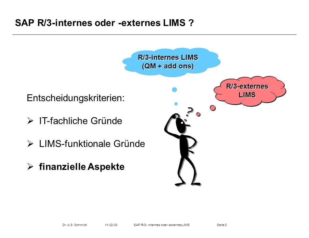 Seite 211.02.00Dr. A.S. SchmidtSAP R/3- internes oder -externes LIMS SAP R/3-internes oder -externes LIMS ? R/3-internes LIMS (QM + add ons) R/3-exter