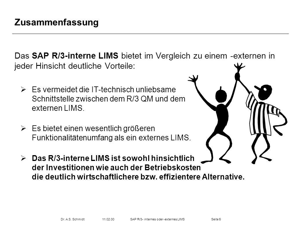 Seite 511.02.00Dr. A.S. SchmidtSAP R/3- internes oder -externes LIMS Zusammenfassung Das SAP R/3-interne LIMS bietet im Vergleich zu einem -externen i