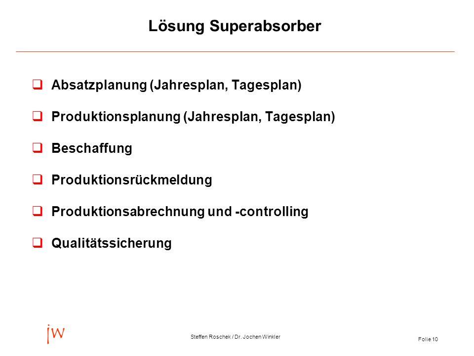 Folie 10 jw Steffen Roschek / Dr. Jochen Winkler Lösung Superabsorber qAbsatzplanung (Jahresplan, Tagesplan) qProduktionsplanung (Jahresplan, Tagespla