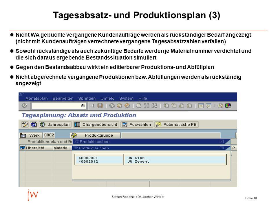Folie 18 jw Steffen Roschek / Dr. Jochen Winkler Tagesabsatz- und Produktionsplan (3) Nicht WA gebuchte vergangene Kundenaufträge werden als rückständ
